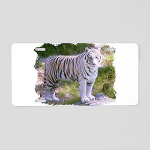 Standing White Tiger Aluminum License Plate
