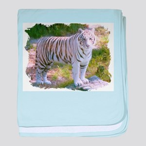 Standing White Tiger baby blanket
