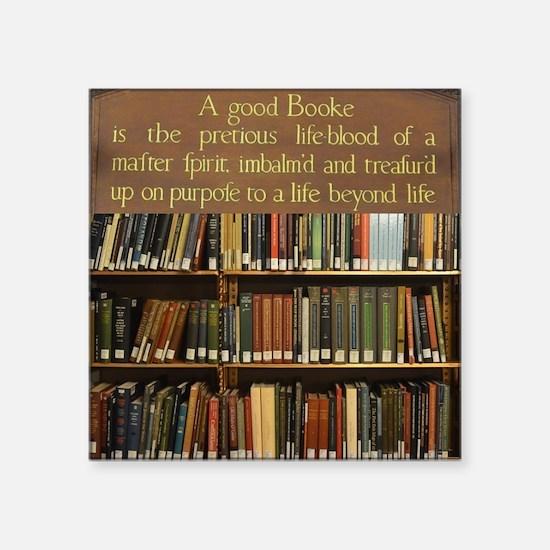 "Bookshelves and Quotation Square Sticker 3"" x 3"""