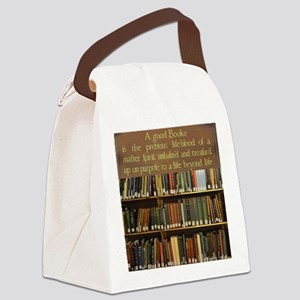 Bookshelves and Quotation Canvas Lunch Bag