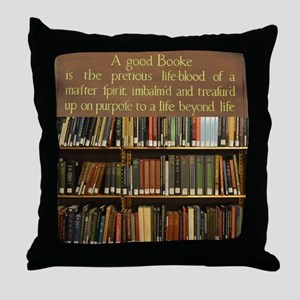 Bookshelves and Quotation Throw Pillow