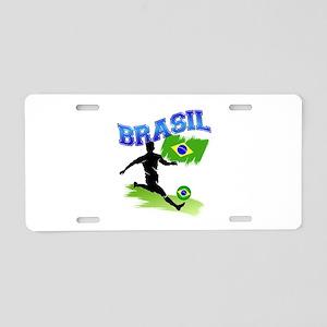 Soccer BRASIL Flag Aluminum License Plate