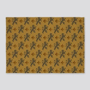 Rampant Lions And Fleurs 5'x7'area Rug
