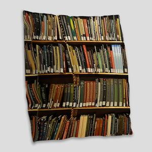 Bookshelves Burlap Throw Pillow