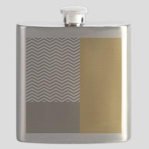 Grey Chevrons Yellow Colorblock Flask