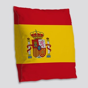 Flag of Spain Burlap Throw Pillow