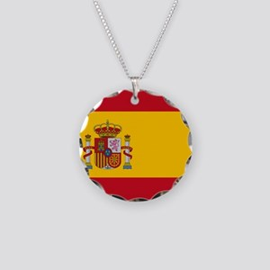 Flag of Spain Necklace Circle Charm