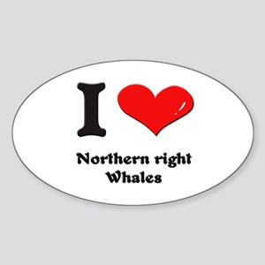 I love northern right whales Oval Sticker
