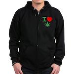 I Heart Weed Zip Hoodie (dark)