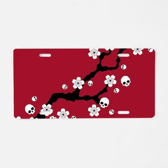 Gothic Cherry Blossoms Aluminum License Plate