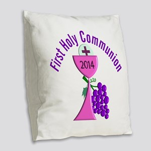 First Holy Communion Pink 2 Burlap Throw Pillow