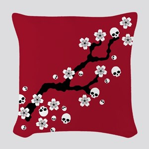 Gothic Cherry Blossoms Woven Throw Pillow