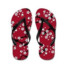 Gothic Cherry Blossoms Pattern Flip Flops