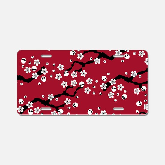 Gothic Cherry Blossoms Pattern Aluminum License Pl