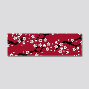 Gothic Cherry Blossoms Pattern Car Magnet 10 x 3