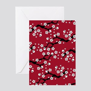Gothic Cherry Blossoms Pattern Greeting Cards