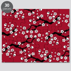 Gothic Cherry Blossoms Pattern Puzzle