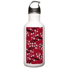 Gothic Cherry Blossoms Pattern Water Bottle