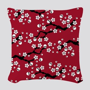 Gothic Cherry Blossoms Pattern Woven Throw Pillow