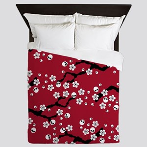 Gothic Cherry Blossoms Pattern Queen Duvet