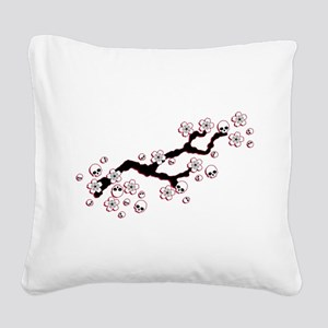Gothic Cherry Blossoms Square Canvas Pillow