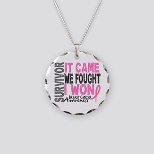 Breast Cancer Survivor 2 Necklace Circle Charm