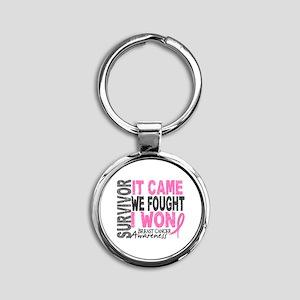 Breast Cancer Survivor 2 Round Keychain