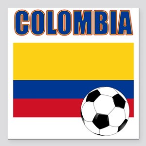 "Colombia futbol soccer Square Car Magnet 3"" x 3"""