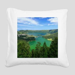 Sete Cidades lakes Square Canvas Pillow