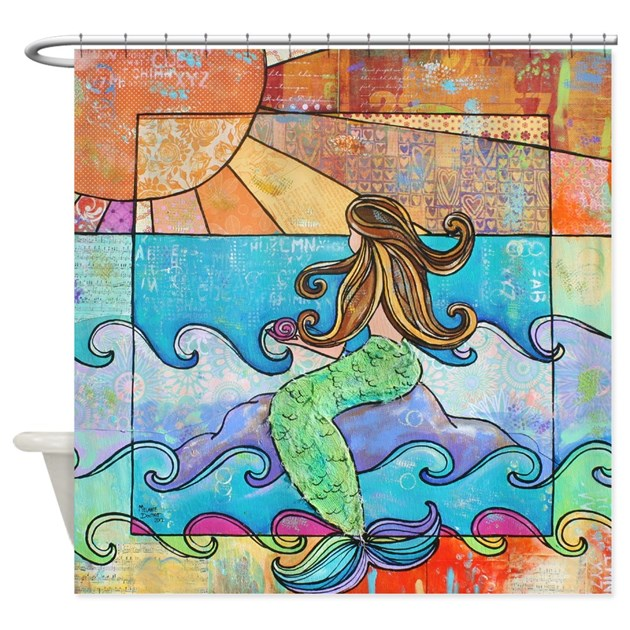 Sunset Mermaid Beach Ocean Shower Curtain by MelanieDouthitArt