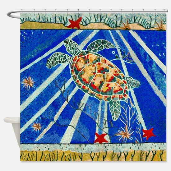 Starfish And Turtle Seascape Shower Curtain