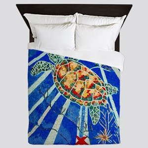 Star-Fish-Sea-Turtle-shower-curtain Queen Duvet