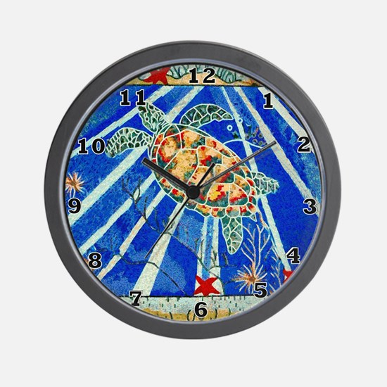 Starfish and Turtle Seascape Wall Clock