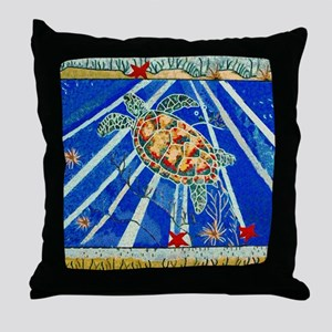 Starfish and Turtle Seascape Throw Pillow
