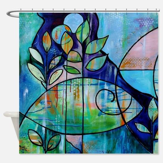 Modern Art Blue Fish Shower Curtain