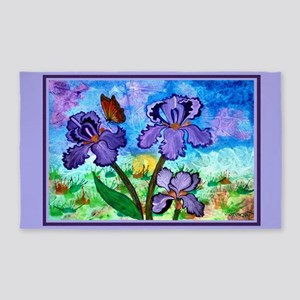 Iris At Sunrise Lavender Trim 3'x5' Area Rug