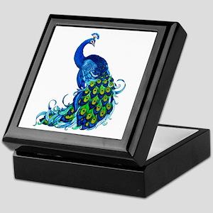 Beautiful Blue Peacock Keepsake Box