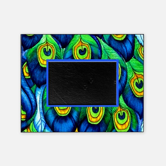 Azure Peacock Feather Picture Frame