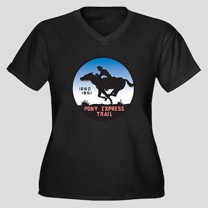 The Pony Express Women's Plus Size V-Neck Dark T-S