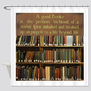 Bookshelves And Quotation Shower Curtain