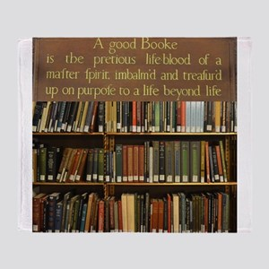 Bookshelves and Quotation Throw Blanket