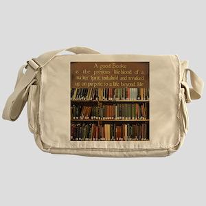 Bookshelves and Quotation Messenger Bag