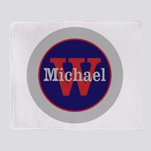 Blue Red Name and Initial Monogram Throw Blanket