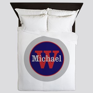 Blue Red Name and Initial Monogram Queen Duvet