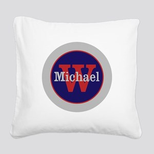 Blue Red Name and Initial Mon Square Canvas Pillow
