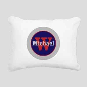 Blue Red Name and Initia Rectangular Canvas Pillow