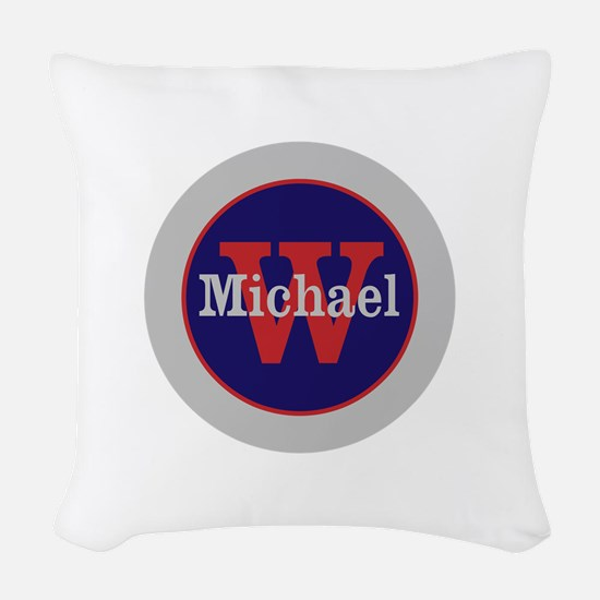 Blue Red Name and Initial Mono Woven Throw Pillow