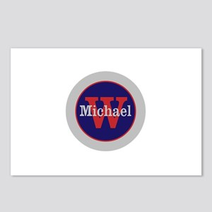 Blue Red Name and Initial Postcards (Package of 8)