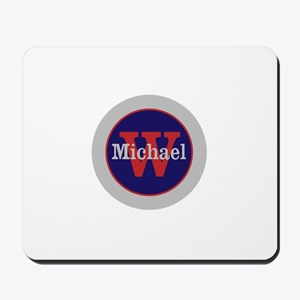 Blue Red Name and Initial Monogram Mousepad