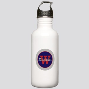 Blue Red Name and Init Stainless Water Bottle 1.0L